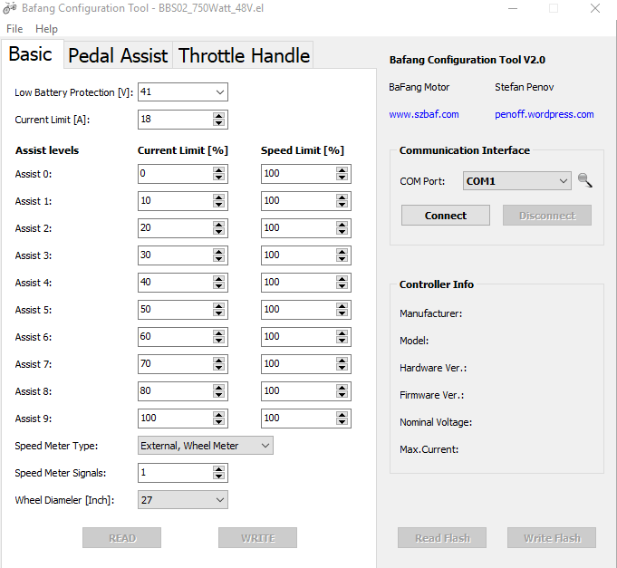 Bafang configuration tool basic tab