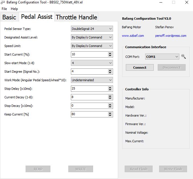 Bafang configuration tool pedal assist tab